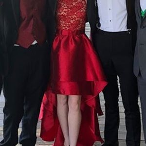 Beautiful Red High-low Prom Dress Only Worn Once!